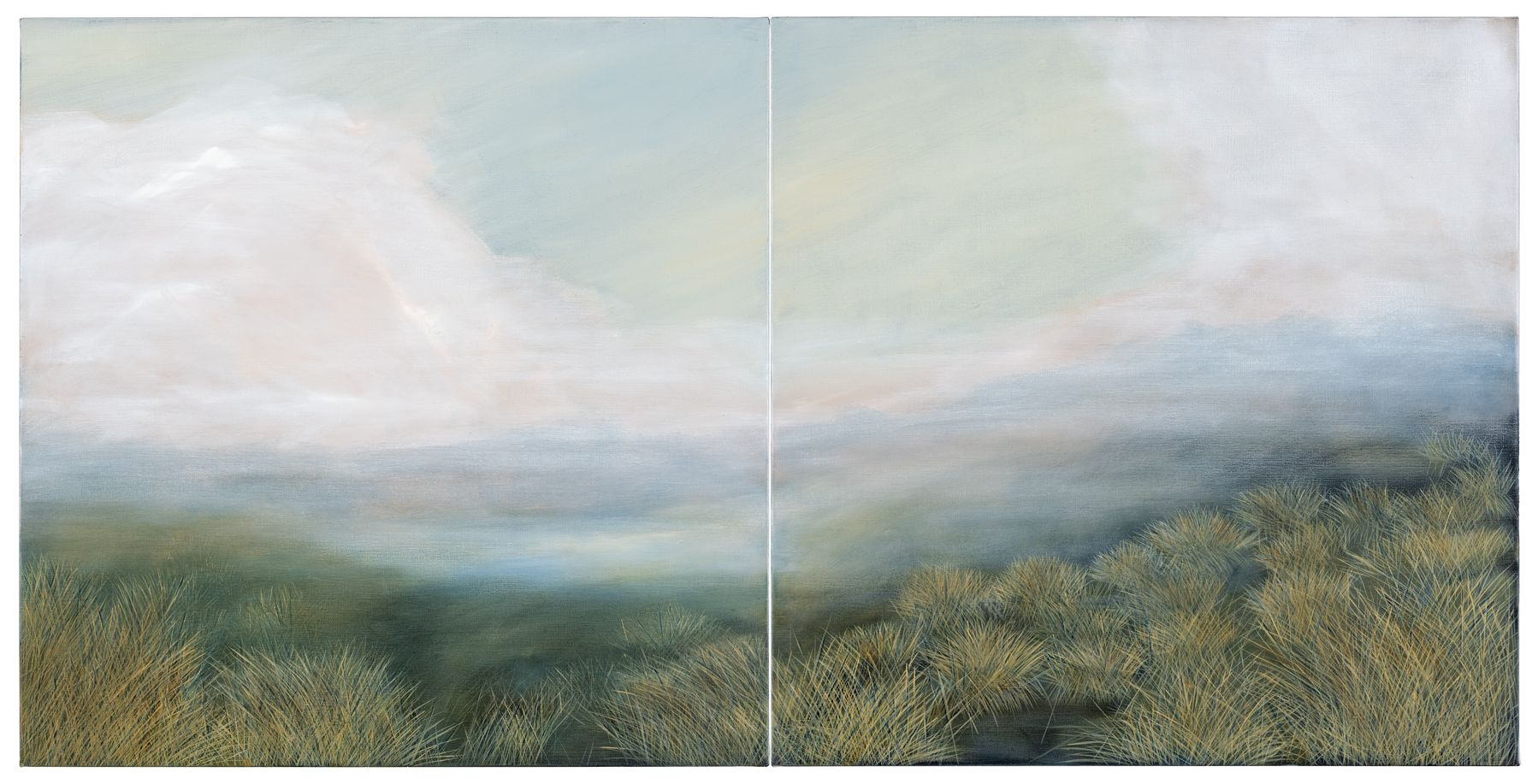 Yvonne Mills-Stanley  A quiet place  2019  oil on linen diptych   92x184cm   FW19153